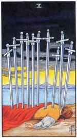 Значение карты таро десятка мечей, толкование карты таро десятка мечей, карта десятка мечей