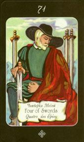 Значение карты таро четверка мечей, толкование карты таро четверка мечей, карта четверка мечей